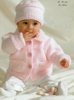Baby Toddler JACKET HAT  Knitting Pattern Copy 8 ply