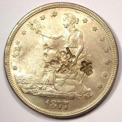 1877-S Trade Silver Dollar T$1 - Excellent Condition with Chop Marks - Rare Coin