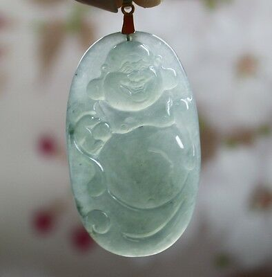 Certified Natural JADE A-Grade Fine Untreated Icy Jadeite Carved Buddha Pendant