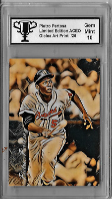 Hank Aaron Limited Edition Aceo Giclee Artist Signed Art Print Card 10 of 25
