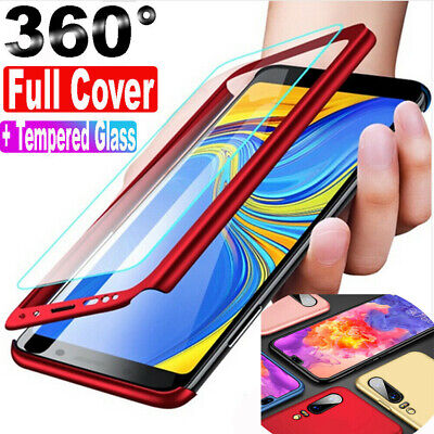 For Samsung Galaxy A50 A30 360° Full Cover Case + Tempered Glass Protective Film