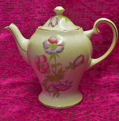 Art Deco Salisbury Fine Bone China Anemone Teapot Coffee Pot  Height 7.5""