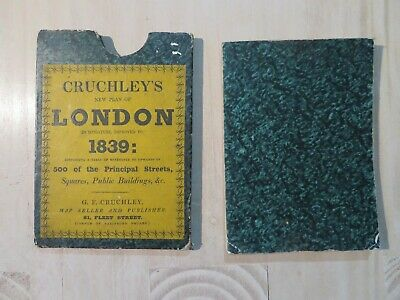 Super Rare Antique map Cruchley's new plan of London impr.1839 with original box