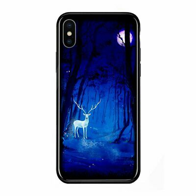 Luminous Glasses Phone Cases Space Night Shine Glass Case for iPhone XS Max SH