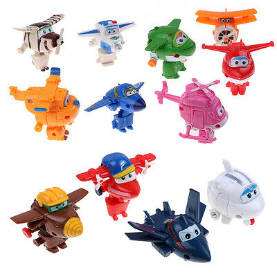 12Pcs Super Wings Transformable Airplane Robot Figures Animation Toys Kids Gift