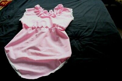 adult baby, pink and white check romper