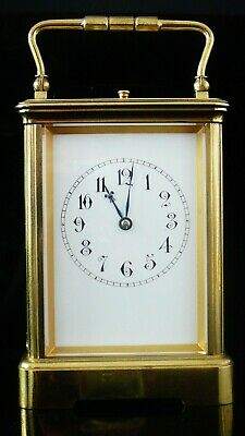 Large Antique Brass Repeater Carriage Clock with Original Case c.1900