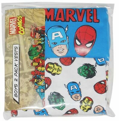 2 PACK BOYS OFFICIAL EX-PRIMARK MARVEL COMICS VESTS AGES: 18-24 up to 13 years