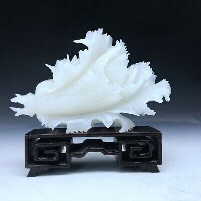 """7""""L-Chinese Genuine Natural White Jade Handcarved Lucky Cabbage Statue"""