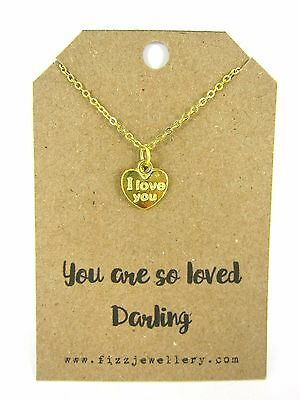 """""""You are So Loved Darling"""" I Love You Heart Gold Plated 18"""" Necklace New Gift"""
