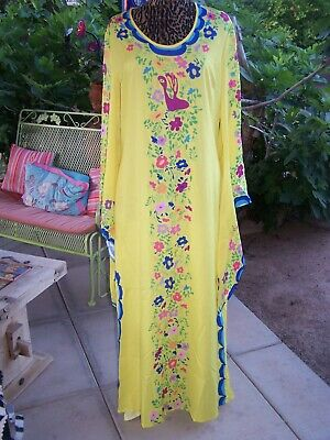 Mexican Vintage Floral Bird Print Festival Kaftan Fairy Sleeve Maxi Dress~L