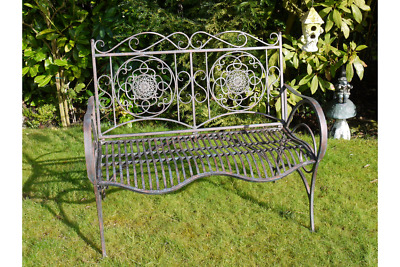 French Grey Vintage Style Metal Garden Bench Shabby Chic Seat Industrial Chair