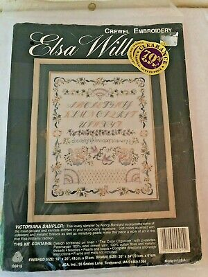 Vintage -Elsa Williams Victoriana Sampler Crewel Embroidery 00415 abc birds-NEW