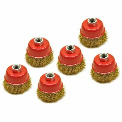 Wire Cup Brush / Wheel for Angle Grinder Crimped Brass Coated (6 Pack) AU028