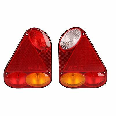 Pair Trailer Caravan Triangular Lights Replacement Lamps with Plug Indespension