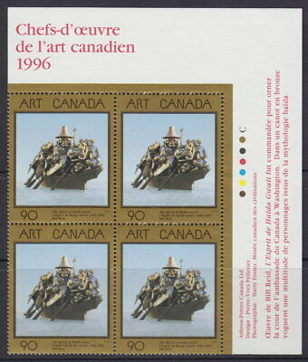 CANADA #1602 90¢ Masterpieces of Canadian Art UR Inscription Block MNH
