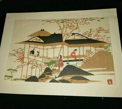Vintage Japanese Woodblock Print On Christmas Greeting Card Village  Scene