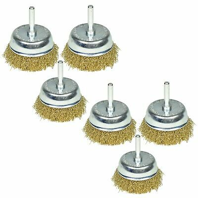 6 Pack 75mm Wire Cup Brush for Drills Steel Brass Coated Rust Paint Remover