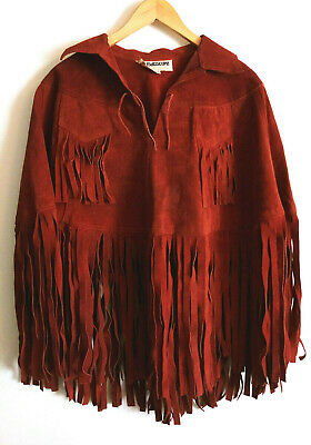 Vintage HIPPIE PONCHO WOODSTOCK Heavy Suede Leather Fringe Coat OVER HEAD
