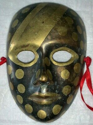 Vintage Solid Brass Face Mask Wall Decor /Art  made in India