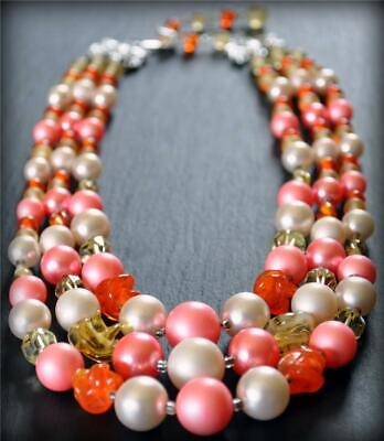"Vintage Japan 16"" 18"" Orange Yellow Glass Bead Pink Faux Pearl 3 Strand Necklace"