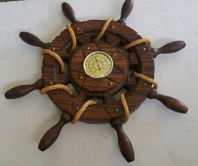 Vintage Ships Wheel Thermometer Wood Brass Rope Nautical Maritime