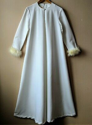 70s vintage Hollywood house robe maribou trim Fifth Avenue Robes by MW 12 12-14
