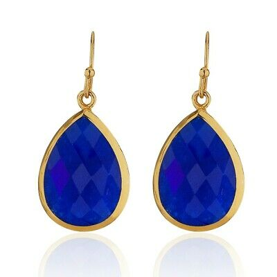 18K Gold-Plated Pear Shape Lapis Lazuli Gemstone Minimalist Dangle Earrings