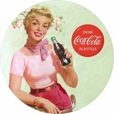 Coca-Cola Girl Bicycle Ride 1940s Style Decal 24 x 24 Coke Kitchen Decor