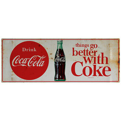 Drink Coca-Cola Better With Coke 1960s Wall Decal 24 x 9 Distressed