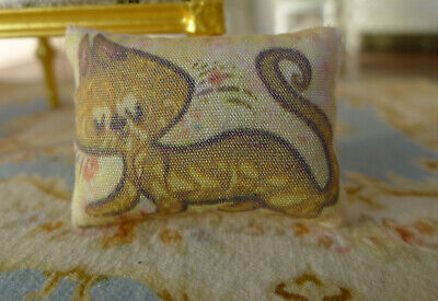 Dollhouse Miniature Pillow Coffee Lovely Cat 1/12 Scale