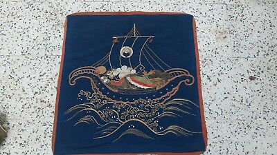 Rare Embroidered Antique Meiji Japanese Silk Fukusa Gift Covering Tapestry