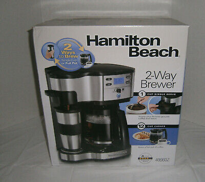 NIB Hamilton Beach Two Way Brewer Single Cup Serve & 12 Cup Coffee Pot Maker