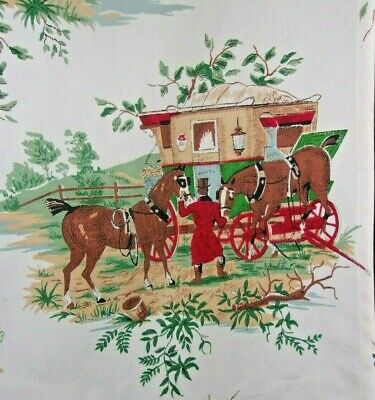 Collectibles Cheap Sale Vintage Country Pastoral Novelty Cotton Fabric Curtains Horses Dogs Houses Trees Fashionable Patterns