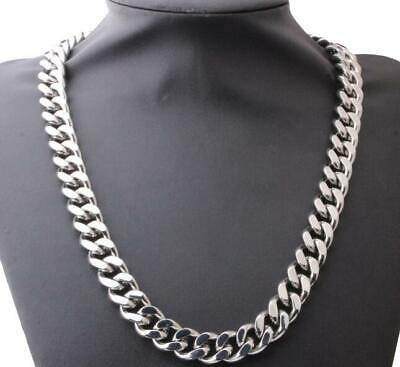 """15mm chunky 316L Stainless Steel Heavy Curb Cuban Chain Silver Necklace 8""""-40"""""""