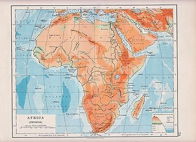 1931 Map ~ Africa ~ Physical ~ Heights & Depths
