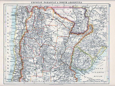 1912 Map ~ South America ~ Uruguay Paraguay & North Argentina