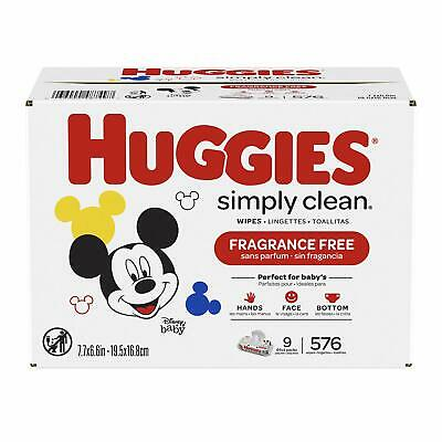 HUGGIES Simply Clean Fragrance-Free Baby Wipes Soft Pack 9-Pack 576 Sheets Total