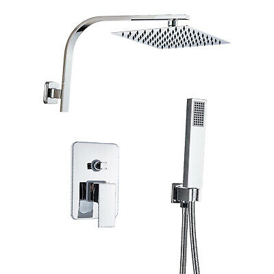 Chrome Bathroom Shower Faucet Set System Tub 2-Way Water Mixer Tap Wall Mounted