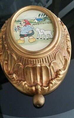 VINTAGE RARE REUGE MUSIC BOX LITTLE BO PEEP ART Schubert Lullaby Swiss Wall case
