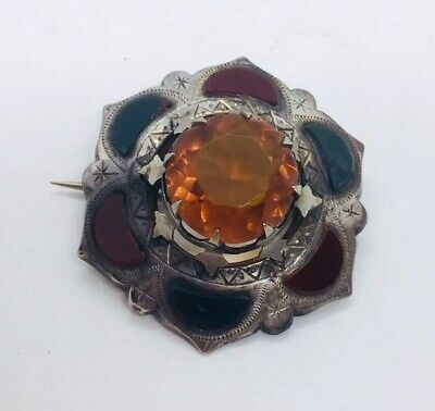 Antique Victorian Scottish Sterling Silver Citrine Bloodstone Agate Pin