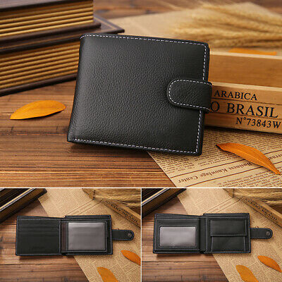 Portable Casual Daily Genuine Leather Men Wallet RFID Blocking Trifold Purse AU