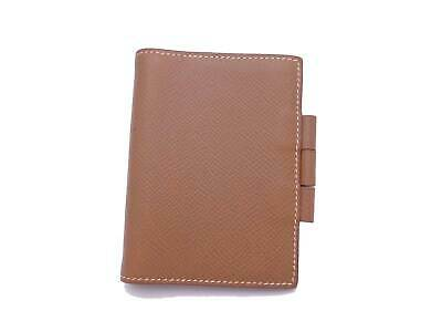 Auth HERMES Square B (1998) Mini Note/Agenda Cover Brown Leather - e40563