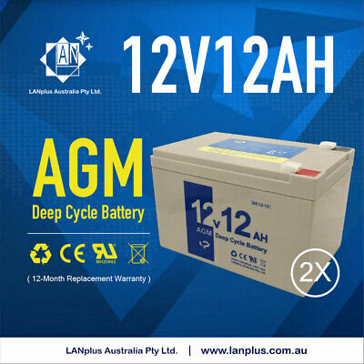 2x 12V 12AH Sealed Lead-Acid Battery AGM F UPS Solar Power Gate Opener Alarm Toy