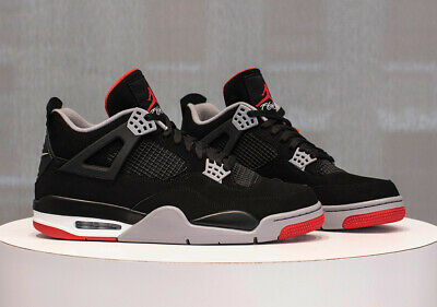 outlet store 99b58 5cd2f Nike Air Jordan 4 BRED Black White Red Grey Cement UK 11 US 12