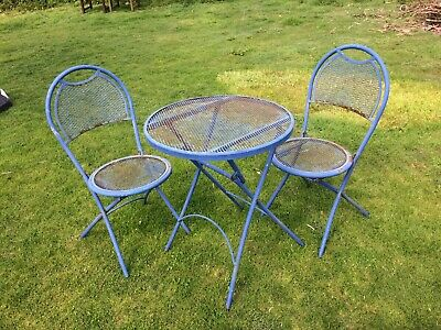 "Vintage French Cafe Style Bistro Set. Folding. Table 24"" And Two Matching Chairs"