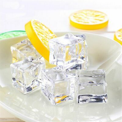10pcs Clear Fake Artificial Acrylic Ice Cubes Crystal Barware Home Display Decor