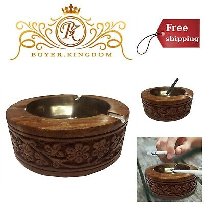 Vintage Wooden Cigarette Ashtray Personal Custom Antique Decorative Ash Holder