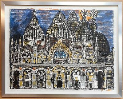 St. Marks Basicilica. Lithograph by listed Italian artist Gian Paolo Berto 1971
