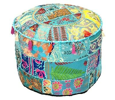 Indian Handmade Patchwork floor Cushion Antique footstool pouffe Vintage Cover